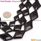 "AA Black Agate Faceted Rhombus Gemstone Loose Beads 15"" 13x18mm 18x25mm 20x30mm"