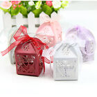 50/100pcs Love Heart Laser Cut Gift Candy Boxes Wedding Party Favor With Ribbon
