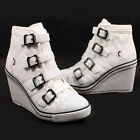 Women's Ankle Boots Wedges Heels Sneakers High Top Ladies Lace Ups Platform LVG