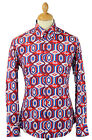 NEW MENS 60s 70s RETRO MOD BIG COLLAR Button Down Psychedelic SHIRT MC123 RED