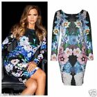 NEW LADIES WOMENS KHLOE KARDASHIAN INSPIRED FULL SLEEVES FLORAL BODYCON DRESS