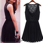 Sexy Back Lace Cocktail Party Skater Mini Dress Beach Cover Up AU SELLER dr082