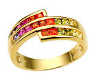 Princess Cubic Zirconia Gold Vermeil Sterling Silver Engagement Wedding Ring