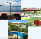 Outsunny Outdoor Solar Patio Umbrella Market 9ft w/ Tilt 24 Led Lights 3 Colors