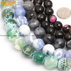 """12 / 14 / 16mm round faceted fire agate jewelry making beads strand 15"""" 6 colors"""