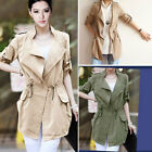 Womens Slim Fit Trench Roll Up Sleeve Coat Drawstring Waist Pocket Thin Jacket