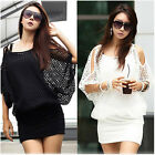 Sexy Women Dress Casual Party Mesh smock Tops Shirts One Size Black/White
