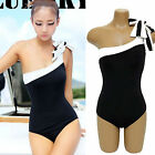 Women One Piece Shoulder Padded Monokini Bikini Swimsuit Swimwear Suits M-XL