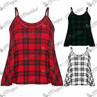 Womens Ladies Tartan Check Print Camisole Strappy Swing Flared Cami Vest Top