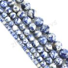 Blue Point Stone Gemstone Round Loose Spacer Beads 16'' Strand 4 6 8 10 12mm