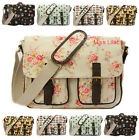 LADIES OILCLOTH LARGE SATCHEL MESSENGER CROSS BODY SCHOOL SHOULDER BAG 20+ Varis