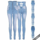 Womens Stretch Light Wash Denim High Waisted Sexy Slim Fit Skinny Jeans Pants