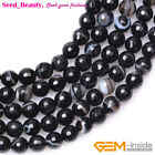 Round Faceted Black Banded Agate Gemstone Jewelry Making Loose Beads Strand 15'