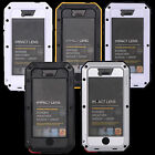 For iPhone 5 5S Shock/Water Proof Cushioned Metal Case & Tempered Glass Screen