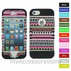 Pink Aztec Tribal Design Hybrid Rugged Armor Impact Case Cover For iPhone 5 5S