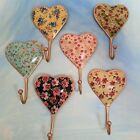 LARGE BIG SHABBY VTG CHIC HEART SHAPED WALL HOOKS COAT TOWELS FLORAL PAINTED