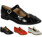 WOMENS LADIES T-BAR STRAP FASHION LOW HEEL CUTOUT GEEK SHOES SANDALS SIZE 3-8 UK