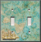 Light Switch Plate Cover - Travel Map With Ship - Beach Home Decor