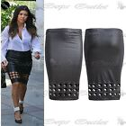 Womens Ladies Celeb Pencil PVC Holes Cut Out Wetlook Faux Leather Bodycon Skirt