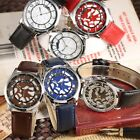 MILER Fashion Silver Mens Ladies Analog 6 Color Leather Quartz Wrist Watch Cool