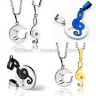2x Stainless Steel Couple Musical Music Note Matching Pendant Chain Necklace Set