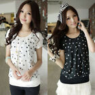 Women Vintage Polka Dots Printed Chiffon Pleated Splice Top Blouse T Shirt NEW