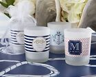 48 Personalized Nautical Theme Frosted Glass Votive Candle Wedding Favors