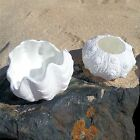 NAUTICAL WHITE VOTIVE TEA LIGHT HOLDER CERAMIC SHELL COASTAL DECOR 2 OPTIONS