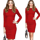 Womens Celeb Style Vintage Cocktail Bodycon Stretch Tunic Fitted Midi Dress E758
