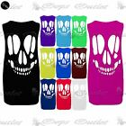 Womens Baggy Back Cut Out Skull Ladies Sleeveless T Shirt Vest Top Plus Sizes