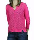 AUGUST SILK Women's Mambo Rose Floral Eyelet Cardigan Sweater 0717048 $68 NEW