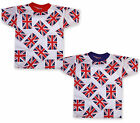 Boys Union Jack Sports T Shirt Girls Kids England Top Red Blue Age 3 - 12 Years