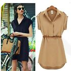 Japan Womens Short Sleeved Belted Button Dress Party Casual Dresses 6 8 10 12 14