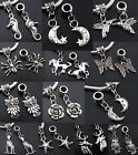 Lot Tibet Silver Dangling Alloy Charms Beads MIX Fit European Bracelet Jf358