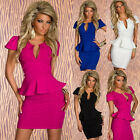 Peplum Bodycon Ruffled Tunic Sexy Pearline Prom Short Pencil Mini Wrap Dress