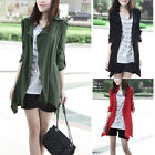 Women Fashion Long Sleeve Casual Jacket Trench Coat Cardigan Button Solid DYM48