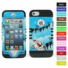 For iPhone 5 5S Santa Claus Reindeer Hybrid Rugged Impact Protector Case Cover