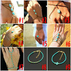 Women Metal Hand Harness Chain Turquiose Bead Slave Finger Ring Fashion Bracelet