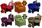 Children's CONTEMPORARY RECLINER with Storage Arms MICROFIBER Heavily Padded