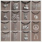 15 Style Floating Charm Necklace Leather Chain Silver Anchor Pendent Jewellery