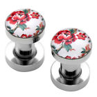New Pick Gauge Surgical Steel Pink Peony Flower Ear Flesh Tunnel Plugs Stretcher