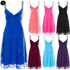 Womens Camisole Strappy Ladies Floral Lace Front Wrap Flared Swing Mini Dress