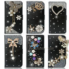 Black Bling Diamond Flip Wallet Leather Case Cover For Samsung Galaxy S4 i9500