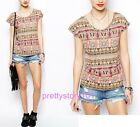 New Women Girl Casual Vintage Nation Pattern Print Cap Sleeve Blouse Top T-Shirt