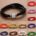 Multilayer Leather Bracelets Crystal Rhinestone Magnetic Charm Buckle Bangle