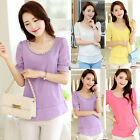 Womens Short Sleeve Scoop Collar Summer Tunic Slim Chiffon Blouse Tops T-Shirts