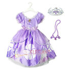 Disney Sofia The First Princess Children Girl Gown Party Costume Dress 3-9 Tiara