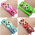 New Trendy Lovely Women Girls Retro Owl Decoration Faux Leather Sweet Bracelet