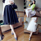 2014 Womens Double Layer Pleated Retro Maxi Dress Plaid Long Skirt