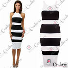 Womens Monochrome Striped Nautical Smart Cocktail Pencil Bodycon Celeb Tea Dress